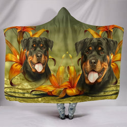 Cute Rottweiler Dog Print Hooded Blanket-Free Shipping