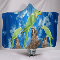 Rose Ringed Parakeet Print Hooded Blanket-Free Shipping