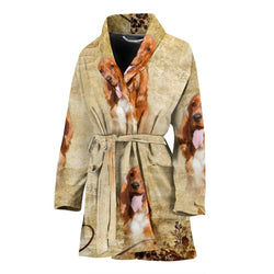 Cute Cocker Spaniel Print Women's Bath Robe-Free Shipping