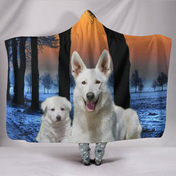 Cute White Shepherd Print Hooded Blanket-Free Shipping