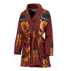 Welsh Terrier Dog Print Women's Bath Robe-Free Shipping