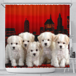 Bichon Frise Print Shower Curtain-Free Shipping