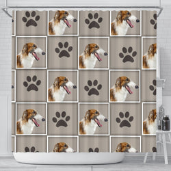 Borzoi Dog With Paws Print Shower Curtain-Free Shipping