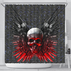 Gun And Skull Print Shower Curtains-Free Shipping