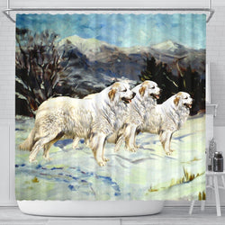 Great Pyrenees Dog Art Print Shower Curtains-Free Shipping