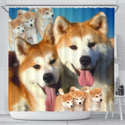Akita Dog Print Shower Curtain-Free Shipping
