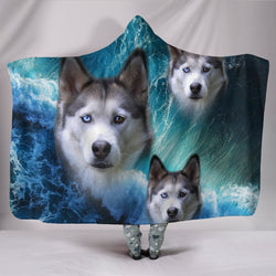 Siberian Husky With Ocean Print Hooded Blanket-Free Shipping