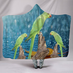 Ring Necked Parakeet Print Hooded Blanket-Free Shipping