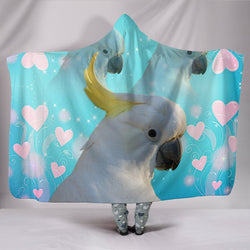 Cockatoo Parrot Print Hooded Blanket-Free Shipping
