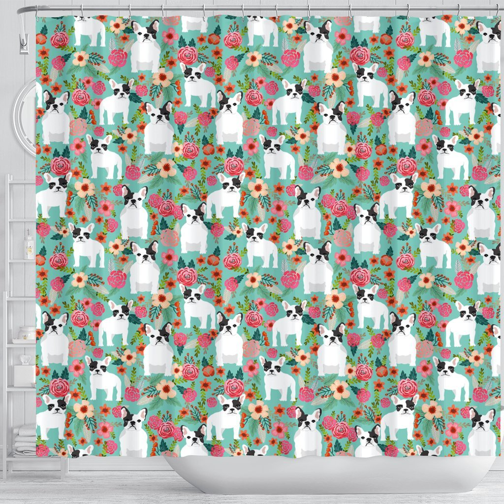 French Bulldog Floral Print Shower Curtains Free Shipping