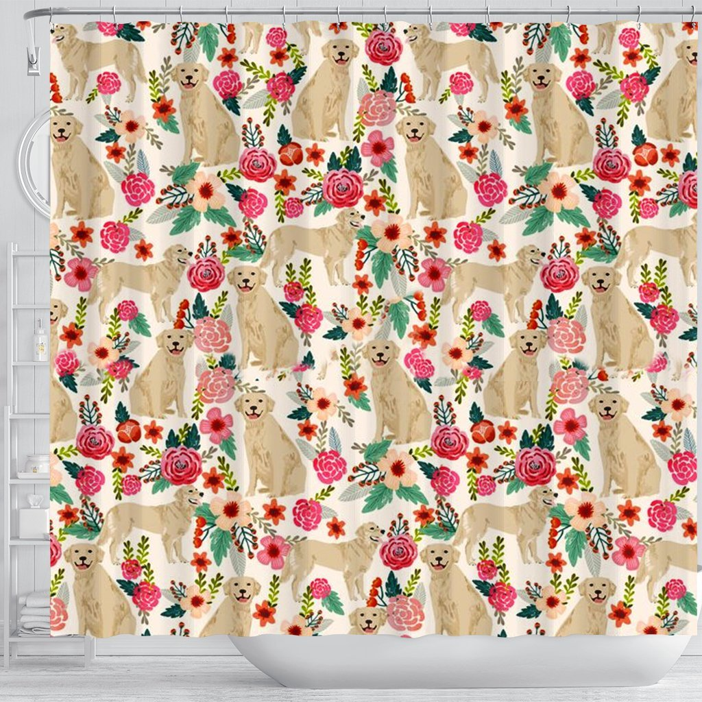 Golden Retriever Dog Floral Print Shower Curtains Free Shipping