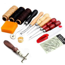 Hobbies - 13Pcs Leather Craft Hand Stitching Sewing Tool Thread Awl Waxed Thimble Kit