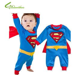 Infant/Children - Baby Boy Romper Superman Long Sleeve With Smock Halloween Christmas Costume