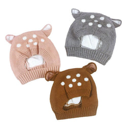 Infant/Children - New Deer Knit Baby Bonnet With Ears Cartoon Winter Infant Baby Hat Plush Lining Kids Cap For 6-24 Months 1 PC