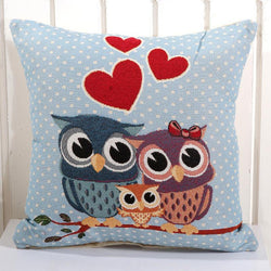 Infant/Children - Removable And Washable Cotton Linen Square 14 Style Owl Cushion Pillowcase