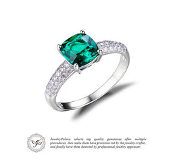 Jewelry - 1.8ct Green Nano Created Emerald Solitaire Engagement 925 Sterling Silver Ring
