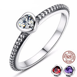 Jewelry - 3 Colors Authentic 100% 925 Sterling Silver Ring Love Heart Ring