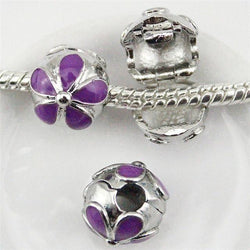 Jewelry - 7 Color  Enamel Clip Flower Charm Bead Fits European Pandora Bracelets & Necklaces