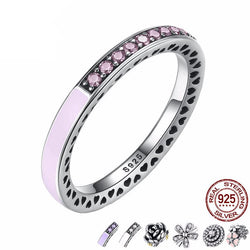 Jewelry - 9 Style - 925 Sterling Silver Dazzling Daisy Flower Pink Purple White Radiant Hearts Ring