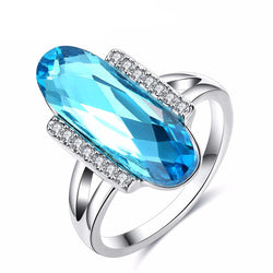 Jewelry - Big Blue Precious Stone Sliver Plated Ring
