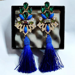 Jewelry - Big Crystal Long Water Drop Tassel Earrings