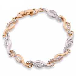 Jewelry - Crystal CZ Hand Link Chain Bracelets For Women 18K Gold Platinum Plated Twisted Bangle