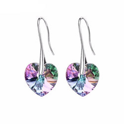 Jewelry - Crystal Heart Pendant Eardrop Earrings - Made W/Swarovski Elements