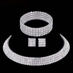 Jewelry - Crystal Rhinestone Bracelets Earrings Necklace Women Wedding Jewelry Set