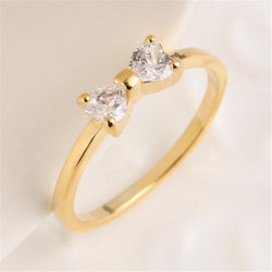 Jewelry - Gold Plated Bow Zircon Party Ring