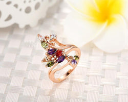 Jewelry - Gold Plated Finger Party Ring With AAA Colorful Cubic Zircon