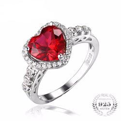 Jewelry - Heart Of Ocean 2.7ct Created Red Ruby Love Forever Halo Promise Ring 925 Sterling Silver