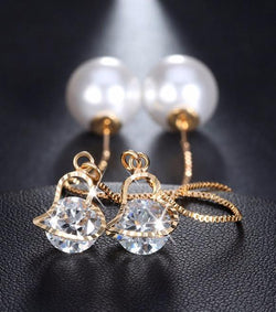 Jewelry - Heart Shape Austrian Crystal Long Stud Earrings With Big Simulated Pearl