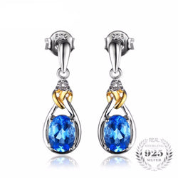 Jewelry - Love Knot 1.9ct Natural Blue Topaz Diamond Accented 925 Sterling Silver 18K Gold Dangle Earrings