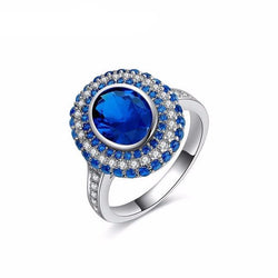 Jewelry - Luxury Blue Angels CZ Diamond White Gold Plated Copper Cubic Zirconia Ring