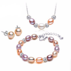 Jewelry - Natural Pearl Earrings And Pendant Party Jewelry Sets  - Zircon Water-Drop Pearls