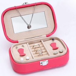 Jewelry - Portable Leather Travel Jewelry Earring & Ring Casket