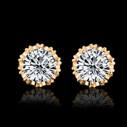 Jewelry - Round Shape 2 Carat Cubic Zircon CZ Stud Earrings