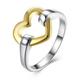 Jewelry - Silver Golden Heart Finger Ring