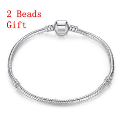 Jewelry - Snake Chain Silver Gold Plated  Bracelet - Fits Pandora Charms