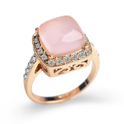 Jewelry - Square Created Opal Stone CZ Diamond Rings Female Rose Gold Plated AAA Austria Crystals