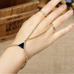 Jewelry - Triangular Decoration Alloy Finger Bracelet