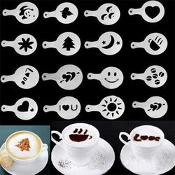 Kitchen - 16Pcs Mold Coffee Milk Stencil Barista Cappuccino Templates