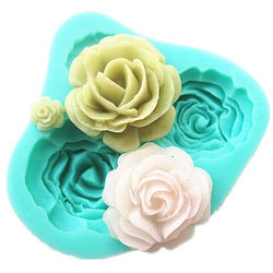 Kitchen - 4 Roses Cake Mold Silicone Baking Tools Decorations