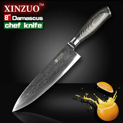 "Kitchen - 8"" Inch Japanese Chef High Quality 73 Layers Damascus Steel Kitchen Knife"