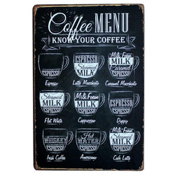 Kitchen - CAFE MENU KNOW YOUR COFFEE TIN SIGN Old Wall Metal Painting ART