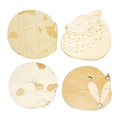 Kitchen - Cat Fox Dog Deer Caved Wooden Cup Coaster Heat Insulated Pad Placemat