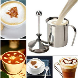 Kitchen - Milk Frother Foamer Milk Creamer Kitchen Milking Tool Beater Stainless Steel Double Mesh For Milk