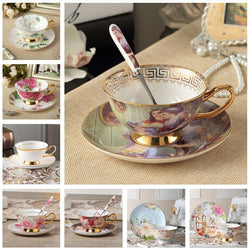Kitchen - Noble Luxury Bone China Coffee Cup And Saucer Spoon Set (200ml Advanced Porcelain)