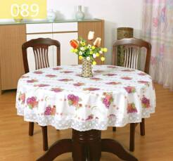 Pastoral Pvc Round Waterproof Oil Proof Floral Printed Lace Edge