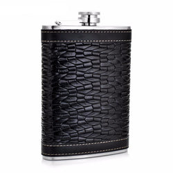 Man Cave - Alcohol Flask 9oz Fluted Leather Stainless Steel Portable Hip Flask